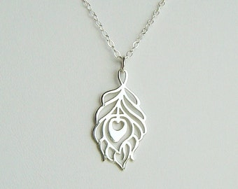 514c6bd4e Reserved for Stacy . Peacock Feather Charm Necklace with White Pearl and  Monogram Charm