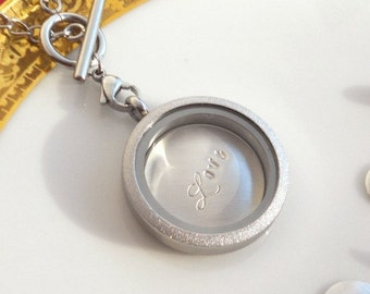Glass Locket Necklace Graduation Gift Mom Stainless Steel Grandma Personalized 3Gemstones Custom Sterling Disc CZ Halo