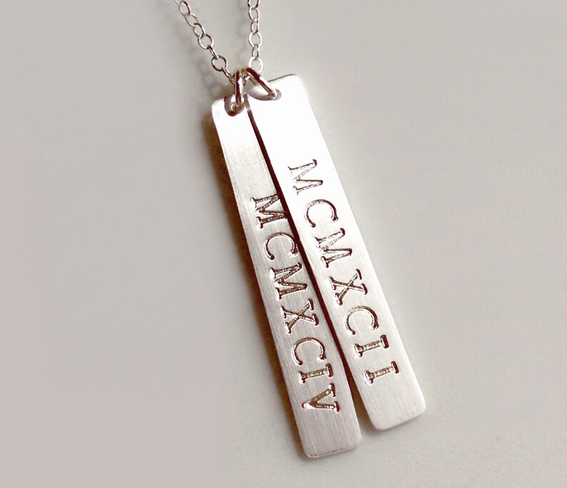 Roman Numeral Date Bar Necklace   Sterling Silver Double Bar, Dates, Names,  Mothers, Couples, Grandmas, Twins