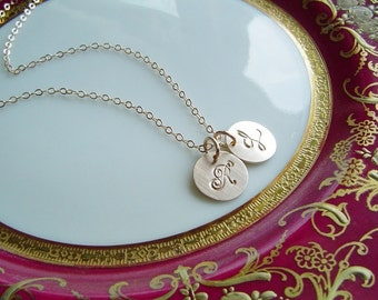 Couples or Mothers Necklace, 14K Gold fill 2 disc, Personalized, Handstamped, Mommy, Initial Necklace, Gift