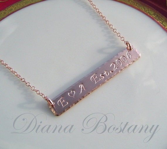 Long Bar Necklace, Personalized Rose Gold Nameplate Necklace, Roman  Numerals, Coordinates, Two Names, Nameplate Jewelry, Gift