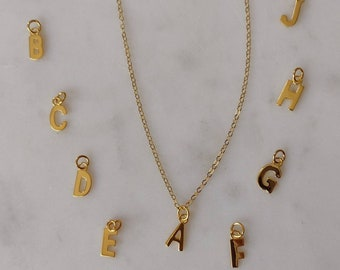 Gold Letter Necklace, 18K Gold on Sterling, Initial Choker Necklace, 14K Gold fill Chain, Alphabet Charm on Gold Chain, A to Z, Custom Chain