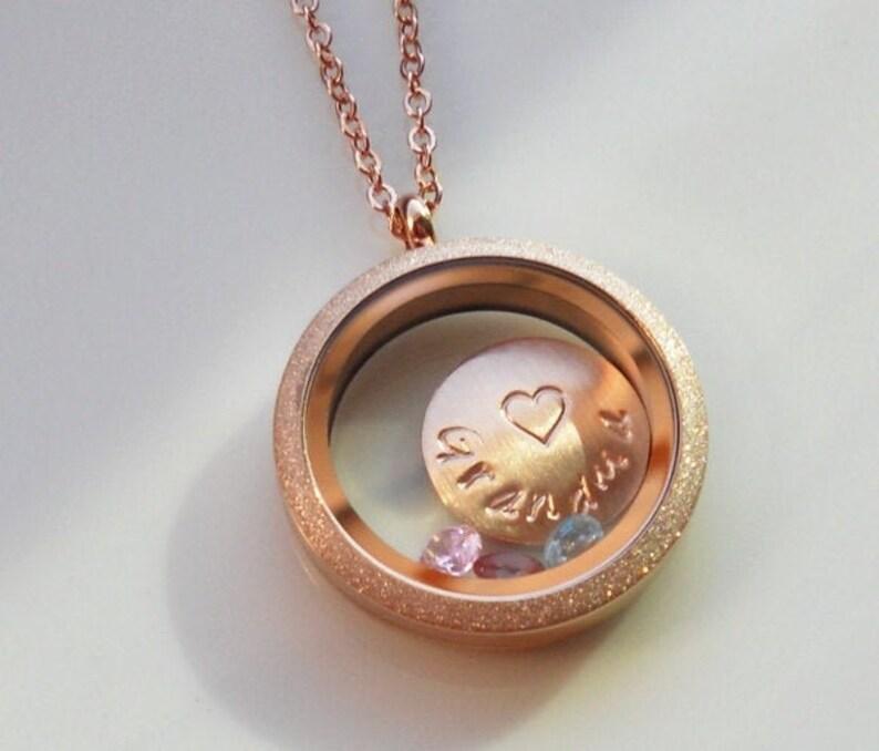 Locket Necklace Rose Gold Locket Personalized Locket image 0