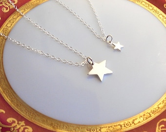 Mother Daughter Stars Necklace Set, Layering Necklaces, Sterling Silver Star Necklace, Tiny Star Necklace, Mother New Baby Gift
