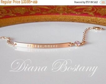 ON SALE Roman Numeral Bracelet w/ Diamond, Personalized Bar Bracelet w/ CZ , Dainty Bracelet, Custom Bracelet, Date Bar, Gift, Bridesmaids