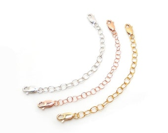 Necklace Extender, Double Lobster Clasp, Oxidized Sterling, Silver, 14K Gold fill, 14K Rose Gold fill, Choose Length, USA Made