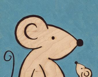Mice Big & Small_Original Painting on wood