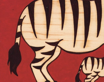 Zebras Big & Small_Original Painting on Wood