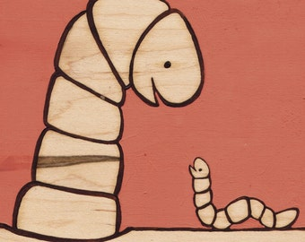 Worms Big & Small_Original Painting on Wood