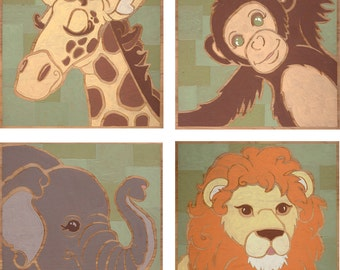 Animal Set_ Giraffe, Monkey, Elephant & Lion. Limited Edition Prints by Shayne Art