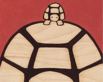 Turtles Big & Small_Original Painting on Natural Wood