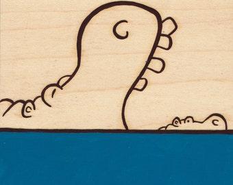 Hippos Big & Small_Original Painting on Wood