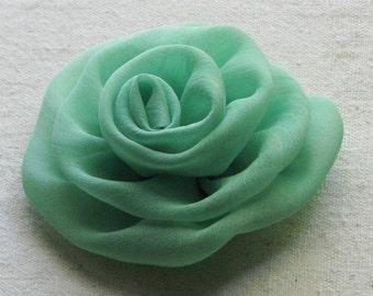 Rose hair clip  in mint green chiffon, medium