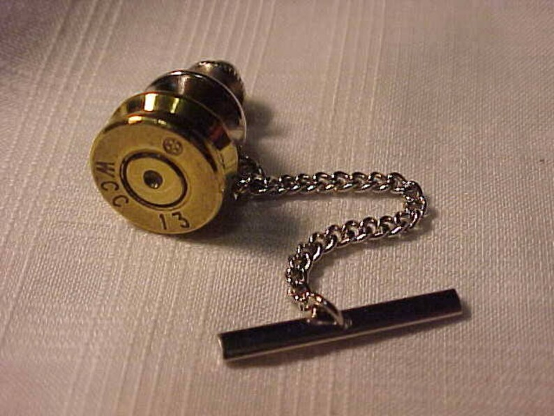 Bullet Tie Tack 30 cal WCC 13 Headstamp Recycled Repurposed / Gift For Him  / Gift For Dad