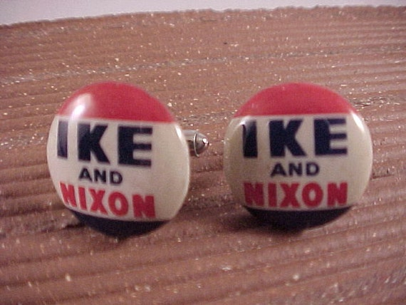 Cuff Links Ike and Dick Vintage Eisenhower Political Campaign Buttons Free Shipping to USA
