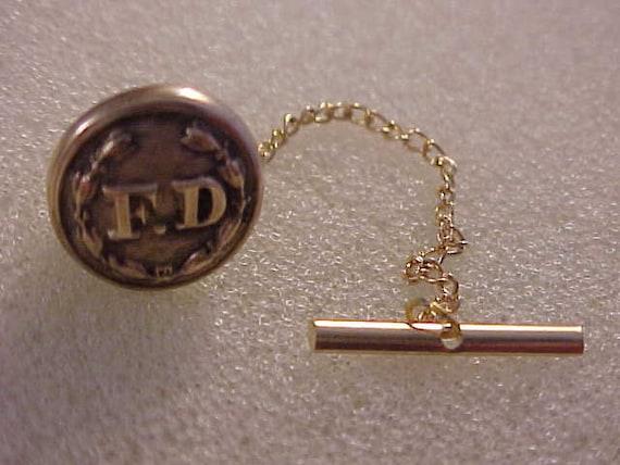 Vintage Chicago Fire Department Uniform Button Tie Tack