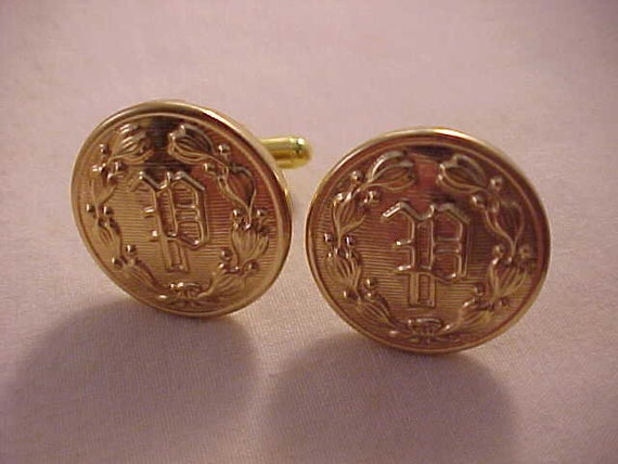 Cufflinks using Using Vintage Fire Brigade Service Buttons from New Zealand