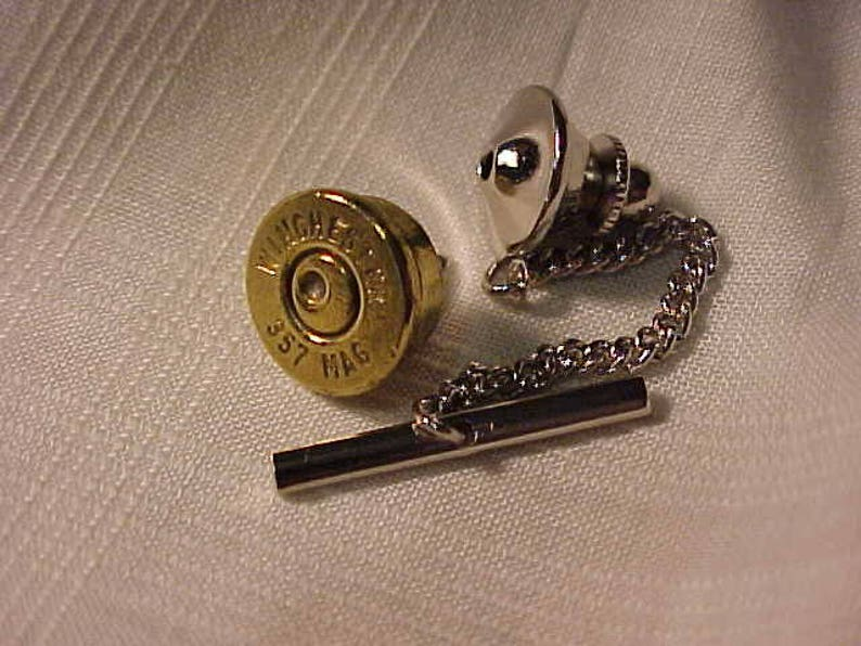 Bullet Tie Tack Winchester 357 Magnum Recycled Repurposed / Gift For Him /  Gift For Dad