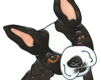 Boston Terrier Faux Stained Glass Window Cling