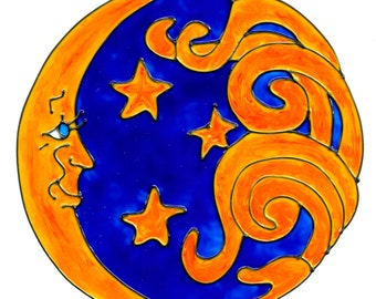 Sun And Stars Faux Stained Glass Window Cling