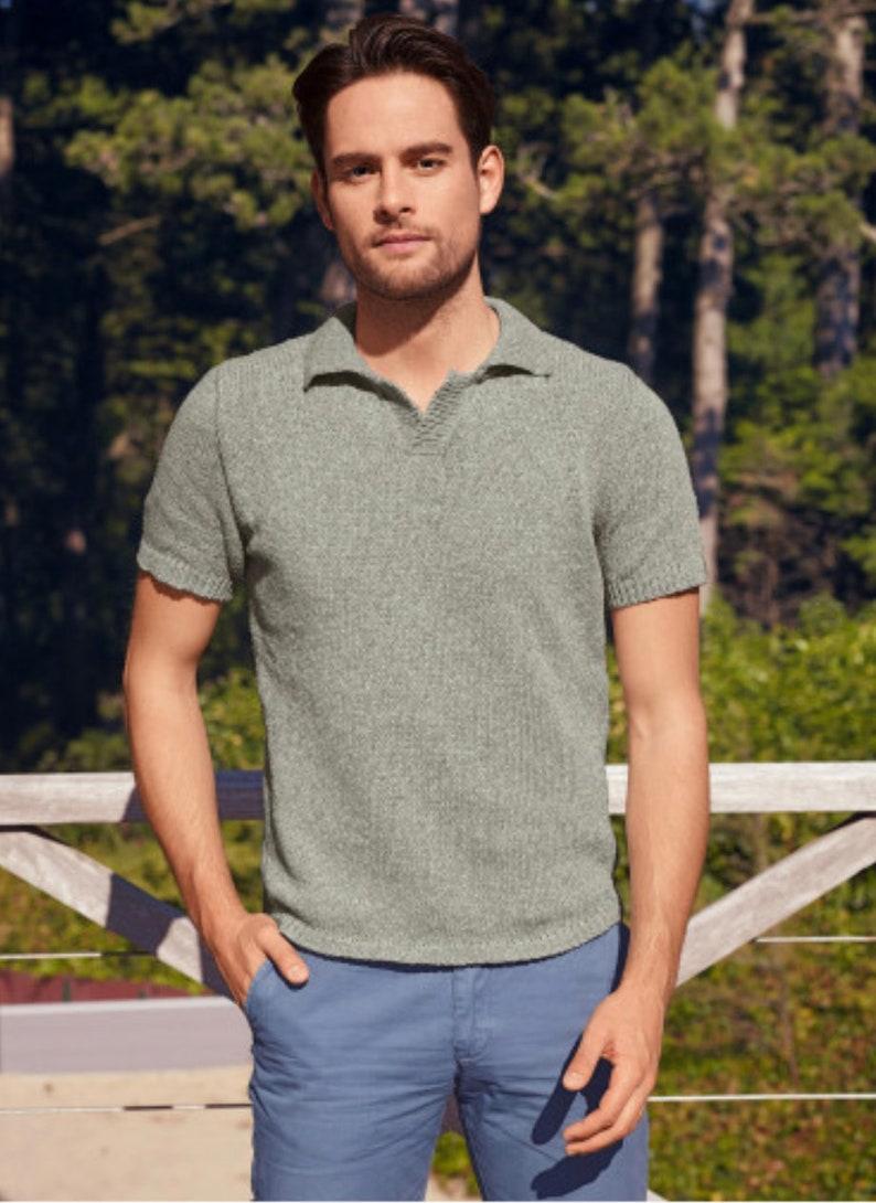 1930s Men's Summer Clothing Guide Knit Linen Short-sleeve Polo Shirt - Pure Linen - Unisex - Italian Yarn $76.00 AT vintagedancer.com