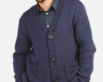 Handknit Jacket/ Cardigan  for Men - 100% Extra Fine Merino Wool