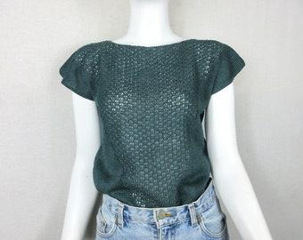 Knit T-shirt / Blouse / Top -  100% Linen