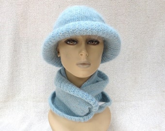 Hand Knit Set - Infinity Scarf and Cloche Hat - Wool Tweed and Mohair