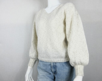 Knit V Neck Sweater Pullover  -  Sparkling Mohair/Wool/Poly  - Yarn From Italy