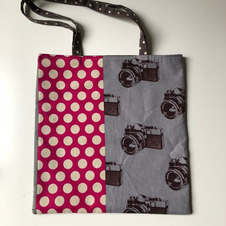 simple market tote bags pink farmers market bag Shoppers bags purse black caneras and polka dots shoulder bag gray handcrafted