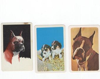 Lot of 3 Vintage Retro Mid-Century DOG Boxer Puppies Single Swap Playing Cards Jokers - Trading & Crafting Junk Journals Paper Arts Ephemera