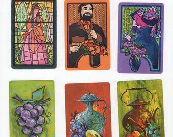 Lot of 6 Vintage Mid-Century Modern Still Life Classics Single Swap Playing Cards Jokers Trading Crafting Junk Journals Paper Arts, Ephemera