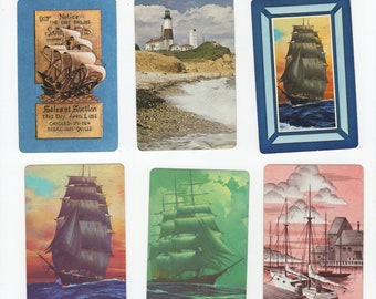 Lot of 6 Vintage Single Swap Playing Cards Jokers - Nautical Ships Boats - Trading & Crafting Junk Journals Paper Arts, Retro Ephemera