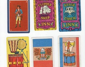 Lot of 6 Vintage Spirit of 76 Bicentennial Patriotic Single Swap Playing Cards Jokers - Collectible Trading & Crafting Ephemera