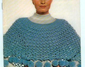Coats & Clark's Book 207 Shawls Ponchos Crochet Knit Hairpin Lace Vintage Retro Patterns