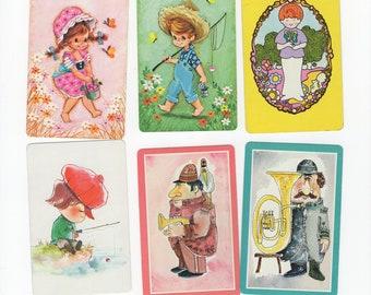 Lot of 6 Vintage Mid-Century Modern Kitschy Cute Kawaii Kids Single Swap Playing Cards Jokers - Trading & Crafting Retro Paper Arts Ephemera