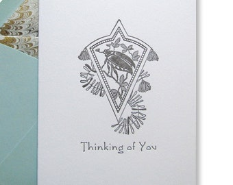 Letterpress Card Thinking of You Victorian Beetle Elegant Edwardian Sympathy Concern Love