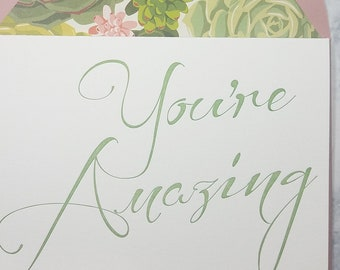 Letterpress You're Amazing, thank you cards, script, green ink, succulent lined envelopes