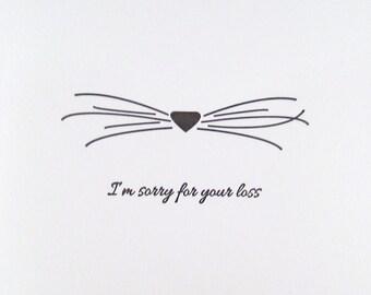 Letterpress Cat Sympathy Cards, Letterpress, Kitty Nose Whiskers Pet Loss