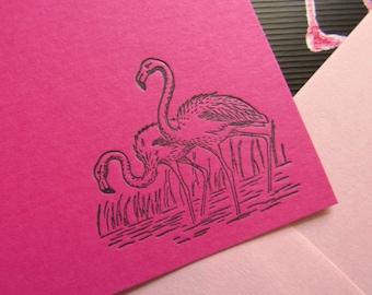 Letterpress Pink Flamingo Stationery Fuchsia Magenta Flat Note Cards