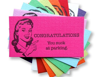 Letterpress Bad Parking Cards, Stocking Stuffer, Novelty Gift, Congratulations, You Suck at Parking, Bad Parking Job Retro Lady, Bad Santa