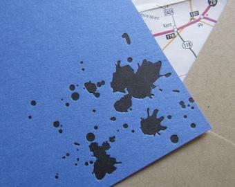 Letterpress Ink Splatter Spatter Stationery on Blue Cards with Map Envelopes