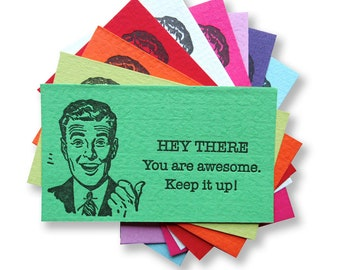 Letterpress Thanks Cards, Great Job, You Are Awesome Cards, Stocking Stuffer, Novelty Gift, Hand out, Enclosure Cards, Thanks for your help