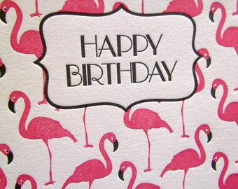 Letterpress Birthday Card Flamingos Pink