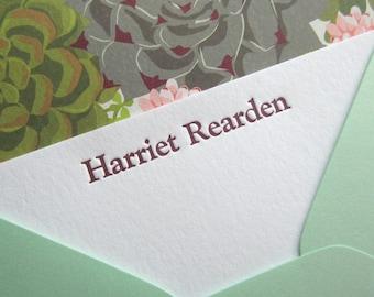 Personalized Letterpress Stationery Set, Channing Style, Goudy Bold, Vintage Font, Custom Gift Notecards, Edwardian