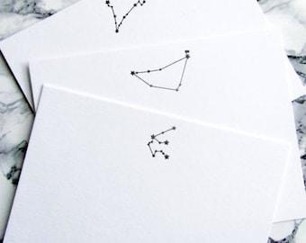 Letterpress Zodiac Constellation Stationery Aries Taurus Gemini Cancer Leo Virgo Libra Scorpio Sagittarius Capricorn Aquarius Picses