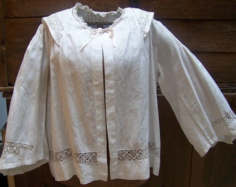 The BEST VICTORIAN Woman's Thread Work Linen Boudoir Jacket Great Wedding Piece