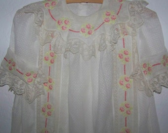 Exquisite VINTAGE OAK  Dotted Swiss  Child/Doll  Dress Cross Stitch With Filet Lace  And Roses