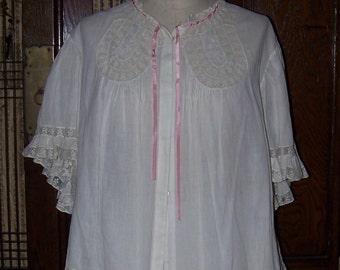 VICTORIAN Woman's Lace Work Boudoir Jacket Great Wedding Piece One Size