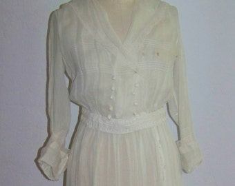 ANTIQUE Edwardian C1910  Beautiful White  Dress Wearable And Good Size